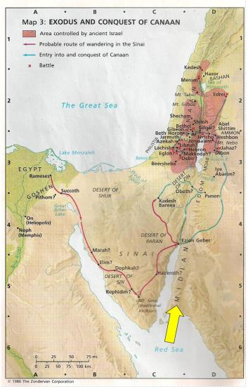 Note the locations of Midian, Moab, and Shittim.
