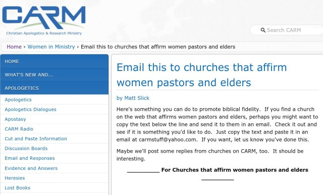 "CARM has a great resource for sharing biblical truth about female ""pastors""."